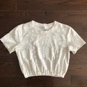 Aritzia | Wilfred Piaf T-Shirt Cropped Lace White